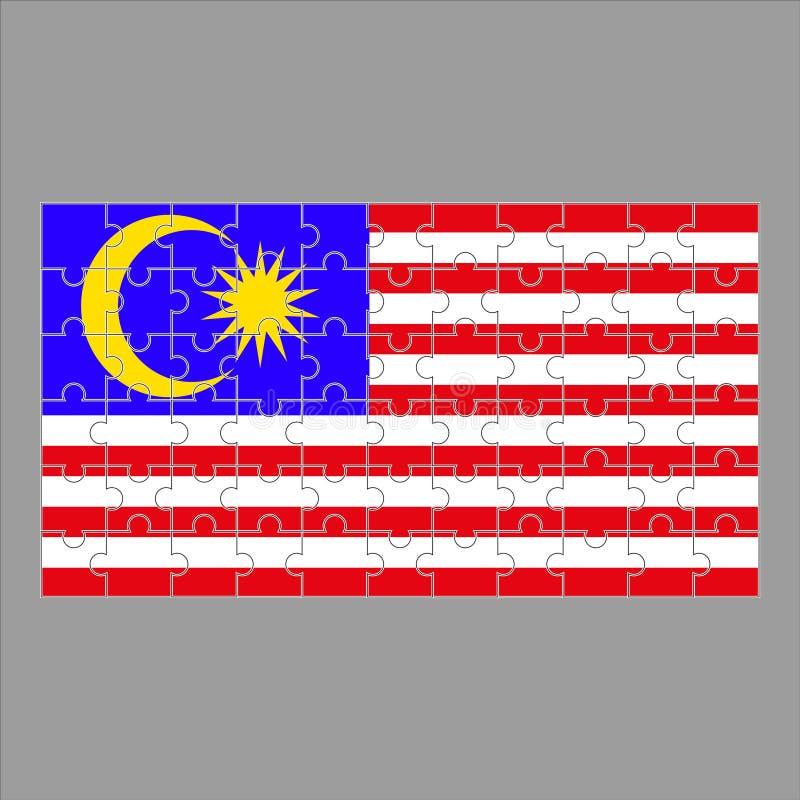 Bandeira de Malásia dos enigmas em um fundo cinzento ilustração do vetor