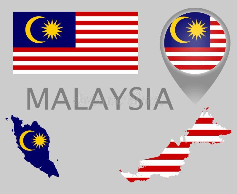 Bandeira de Malásia, mapa e ponteiro do mapa ilustração stock