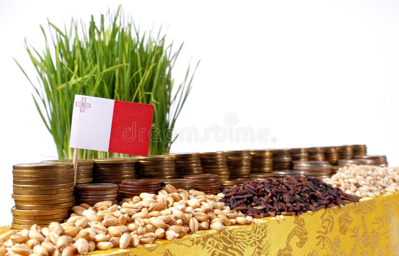 Bandeira de Malta que acena com a pilha de moedas do dinheiro e as pilhas do trigo imagens de stock royalty free