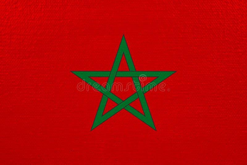 Bandeira de Marrocos na lona ilustração royalty free