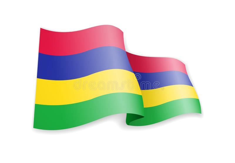 Bandeira de Maurícias no vento Bandeira na ilustra??o branca do vetor ilustração do vetor