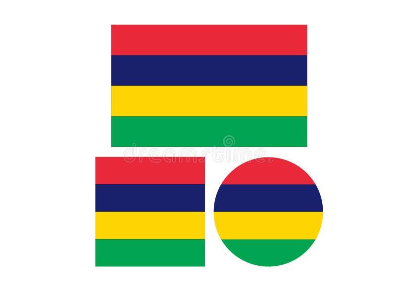 Bandeira de Maurícias - Republic of Mauritius ilustração stock