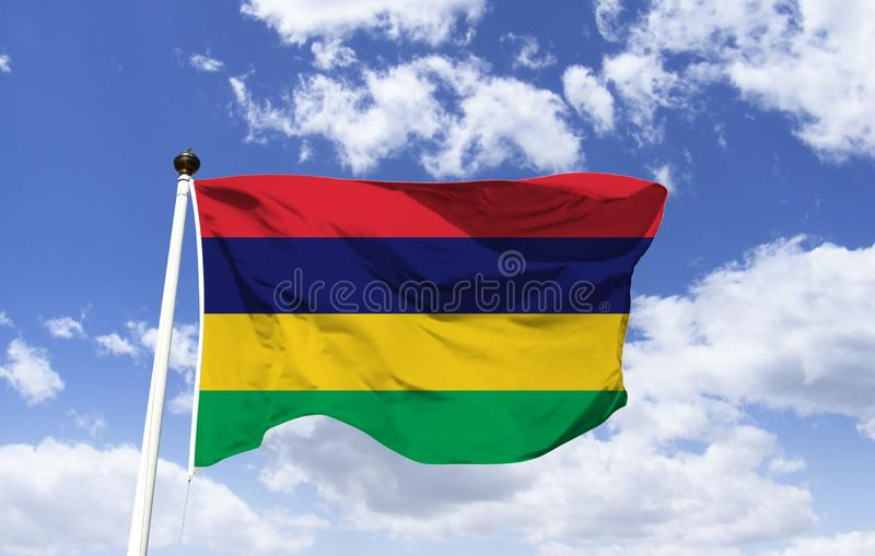 Bandeira de Maurícias, vermelho, azul, amarelo, verde imagens de stock