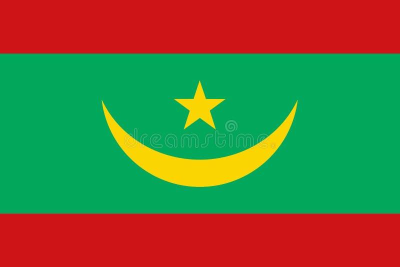 Bandeira de Mauritânia ilustração stock