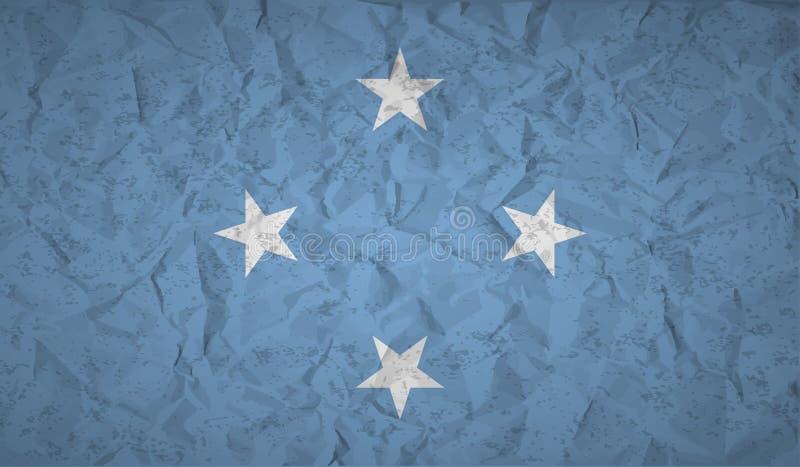 Bandeira de Micronésia com o efeito do papel amarrotado e do grunge ilustração royalty free