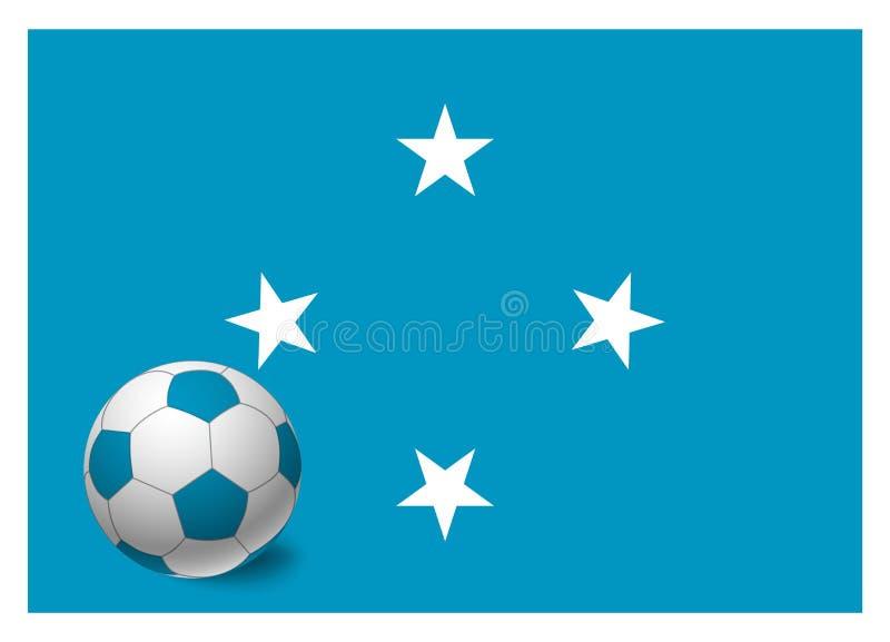 Bandeira de Micronésia e bola de futebol ilustração do vetor