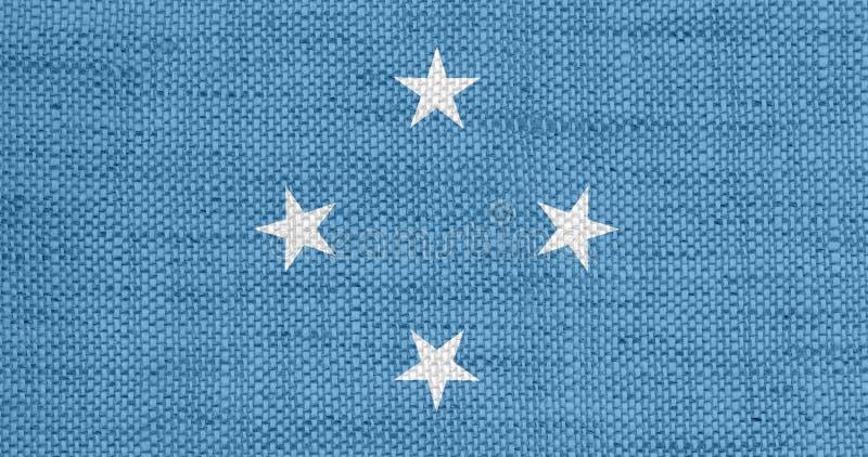 Bandeira de Micronésia no linho velho ilustração stock