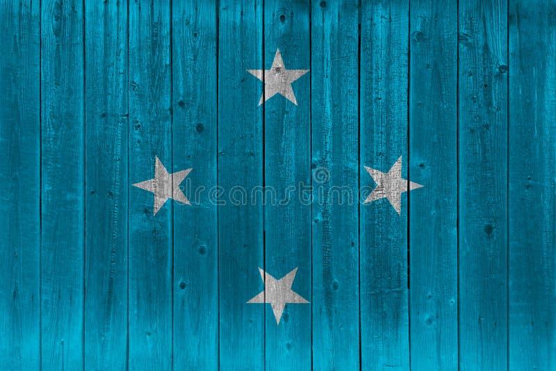 Bandeira de Micronésia pintada na prancha de madeira velha ilustração stock