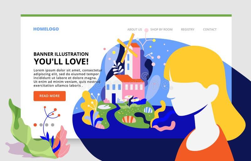 Bandeira de Minimalistic do projeto limpo de aterrissagem da página Menina bonita no fundo de uma paisagem da fantasia ilustração stock