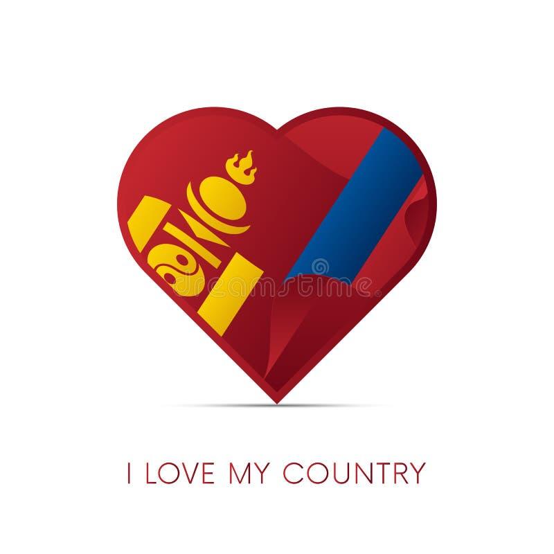 Bandeira de Mongólia no coração Eu amo meu país sinal Ilustração do vetor ilustração do vetor