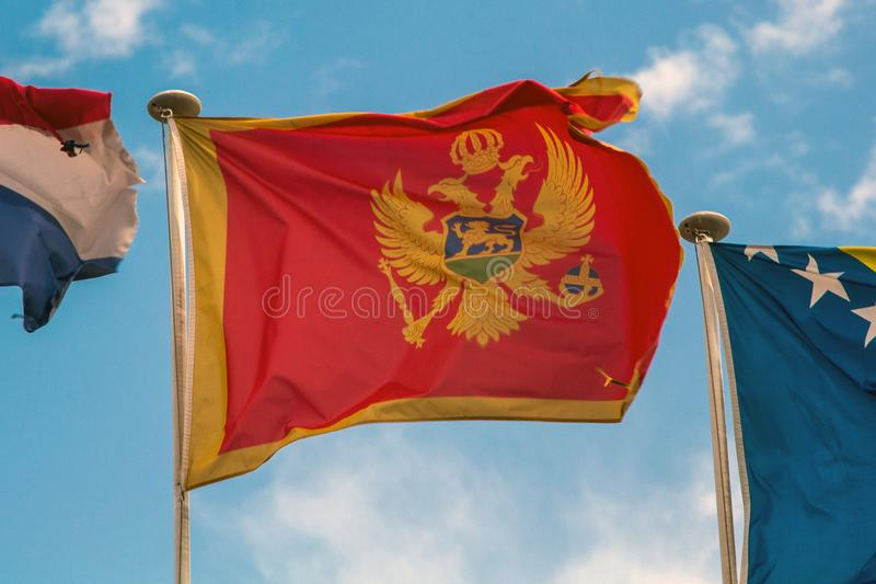 Bandeira de Montenegro que fliying no wiind foto de stock