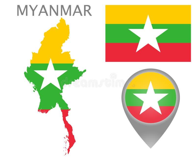 Bandeira de Myanmar, mapa e ponteiro do mapa ilustração royalty free