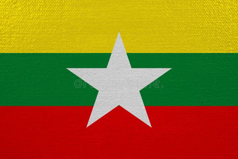 Bandeira de Myanmar na lona ilustração stock