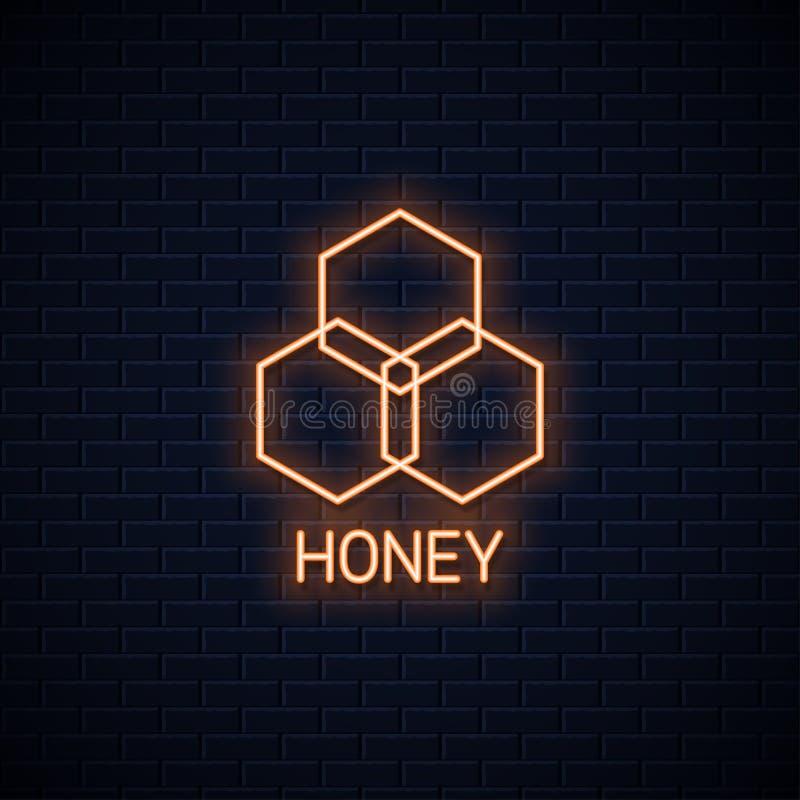 Bandeira de néon do pente do mel Sinal de néon do mel orgânico ilustração do vetor