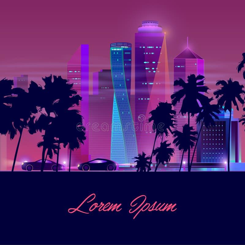 Bandeira de néon do vetor dos desenhos animados da vida noturno da metrópole ilustração do vetor
