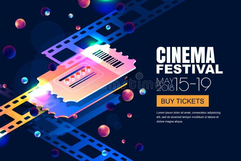 Bandeira de néon de incandescência do festival do cinema do vetor Bilhetes do cinema no estilo 3d isométrico no fundo cósmico do  ilustração royalty free