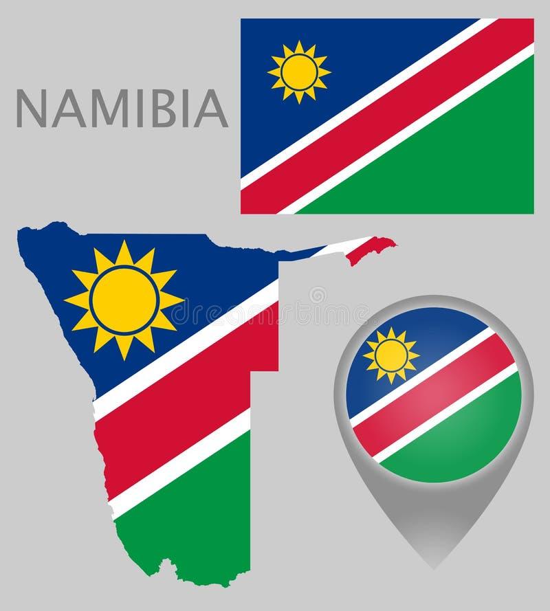 Bandeira de Namíbia, mapa e ponteiro do mapa ilustração do vetor