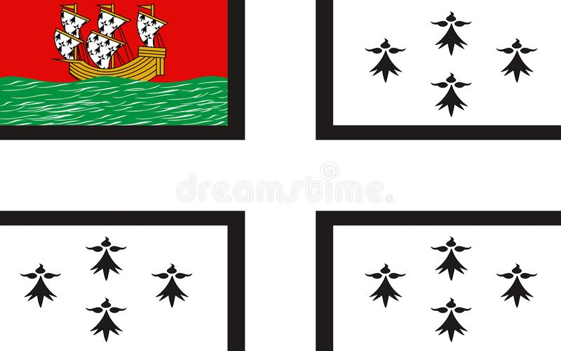 Bandeira de Nantes, França ilustração do vetor