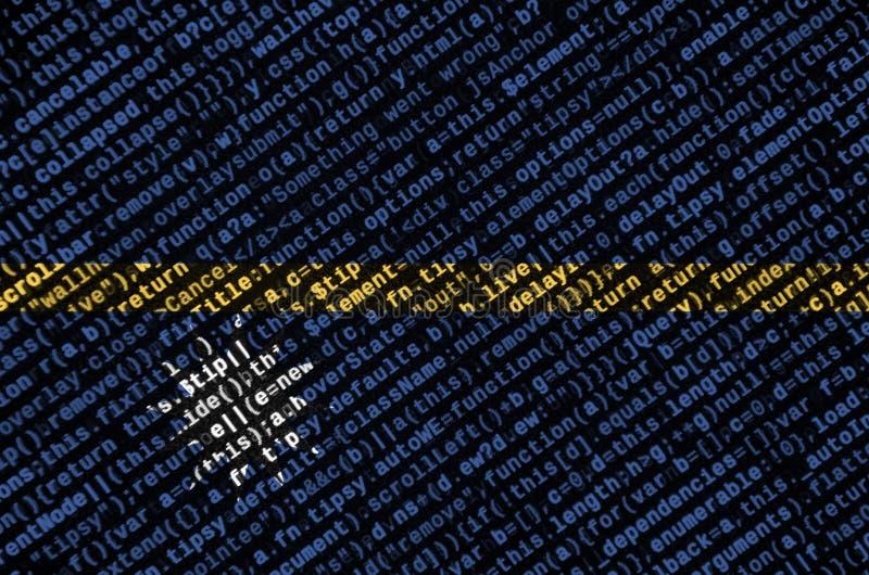 A bandeira de Nauru é descrita na tela com o código do programa O conceito do desenvolvimento moderno da tecnologia e de local ilustração stock
