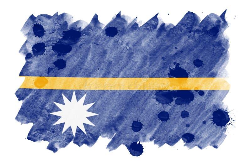 A bandeira de Nauru é descrita no estilo líquido da aquarela isolada no fundo branco ilustração royalty free