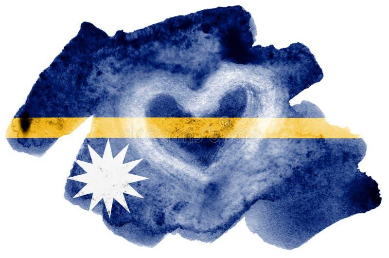 A bandeira de Nauru é descrita no estilo líquido da aquarela isolada no fundo branco ilustração do vetor