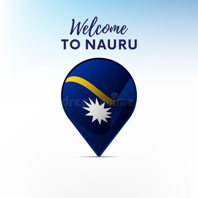 Bandeira de Nauru na forma do ponteiro ou do marcador do mapa Boa vinda a Nauru Ilustração do vetor ilustração royalty free