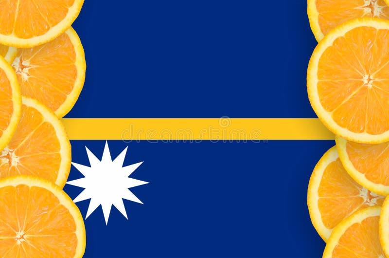 Bandeira de Nauru no quadro vertical das fatias dos citrinos ilustração do vetor
