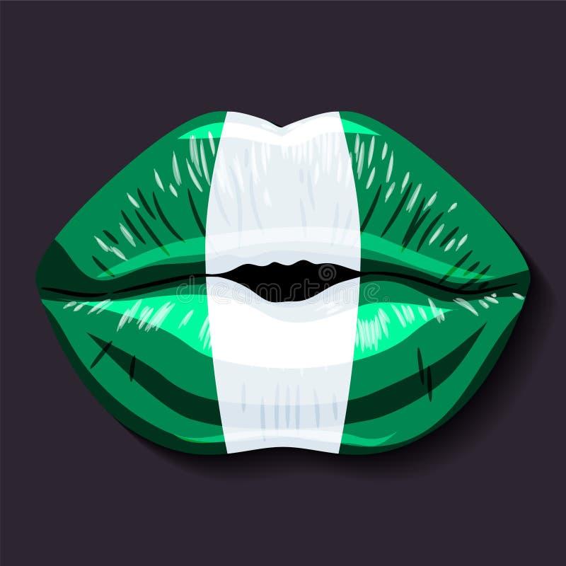 Bandeira de Nigéria ilustração stock