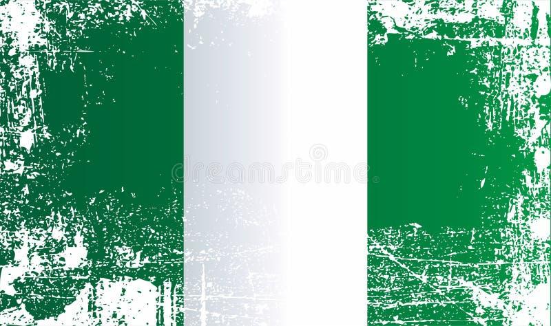 Bandeira de Nigéria, Federal Republic of Nigeria Pontos sujos enrugados ilustração royalty free