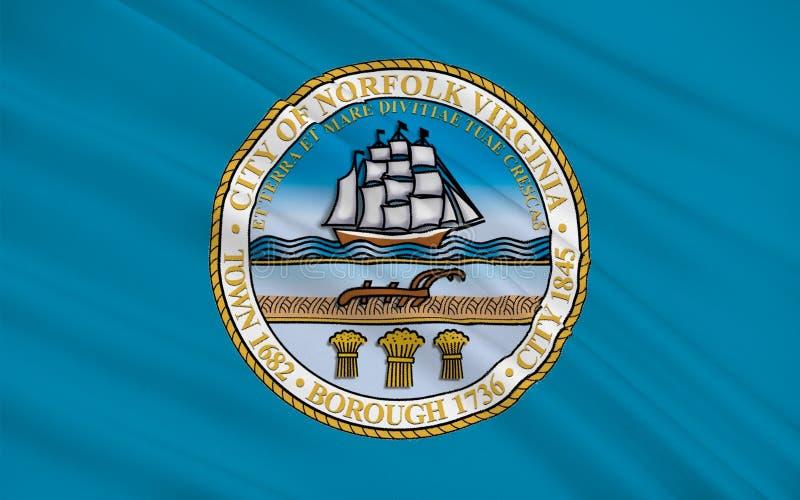 Bandeira de Norfolk em Virgínia, EUA ilustração stock