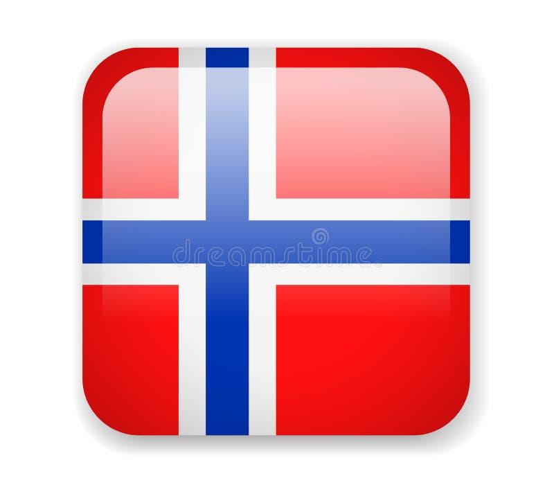 Bandeira de Noruega Ícone brilhante quadrado em um fundo branco ilustração do vetor