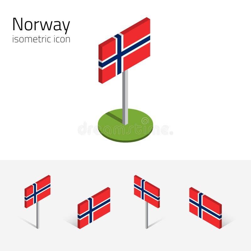 Bandeira de Noruega, grupo do vetor dos ícones 3D isométricos ilustração stock