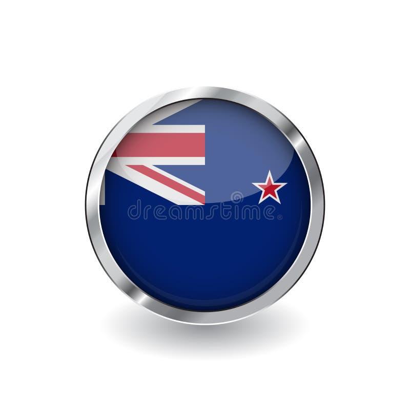 Bandeira de Nova Zelândia, botão com quadro do metal e sombra Ícone do vetor da bandeira de Nova Zelândia, crachá com efeito lust ilustração do vetor
