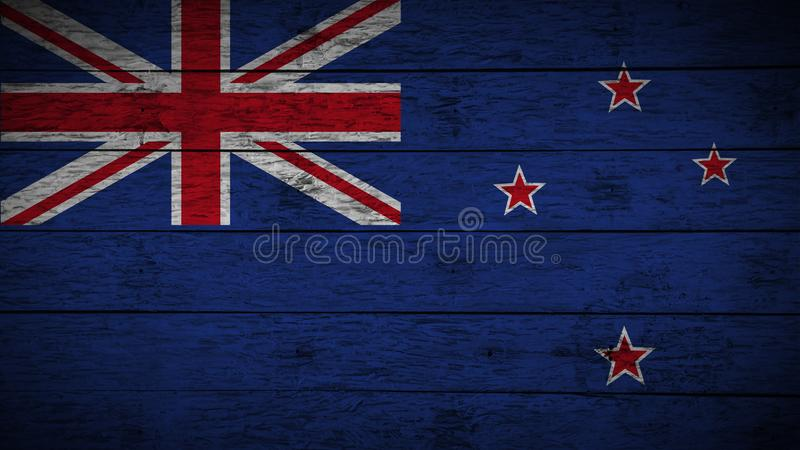 A bandeira de Nova Zelândia pintou em placas de madeira idosas bandeira de madeira de Nova Zelândia Fundo abstrato da bandeira pa fotos de stock