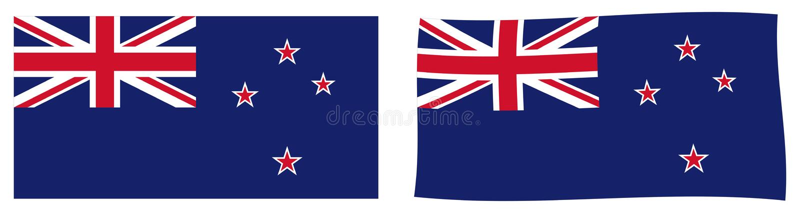 Bandeira de Nova Zelândia Versão simples e levemente acenando ilustração do vetor