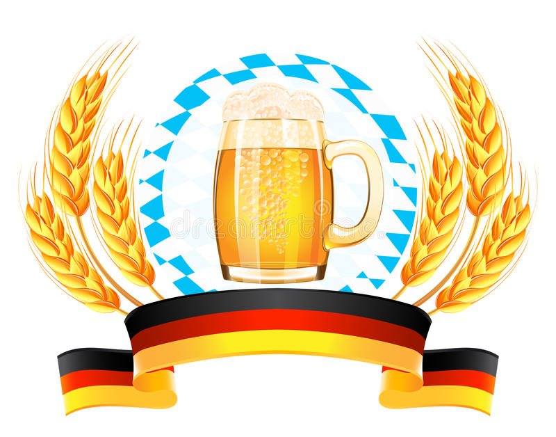 Bandeira de Oktoberfest com orelhas do trigo ilustração do vetor