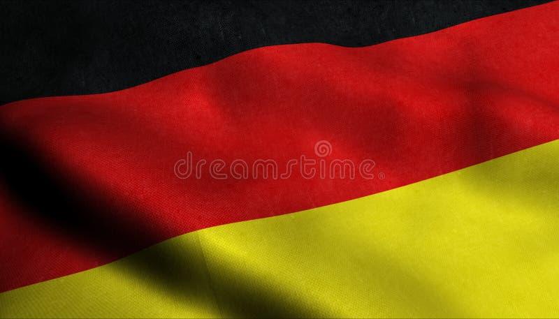 Bandeira de ondulação de Alemanha em 3D ilustração stock