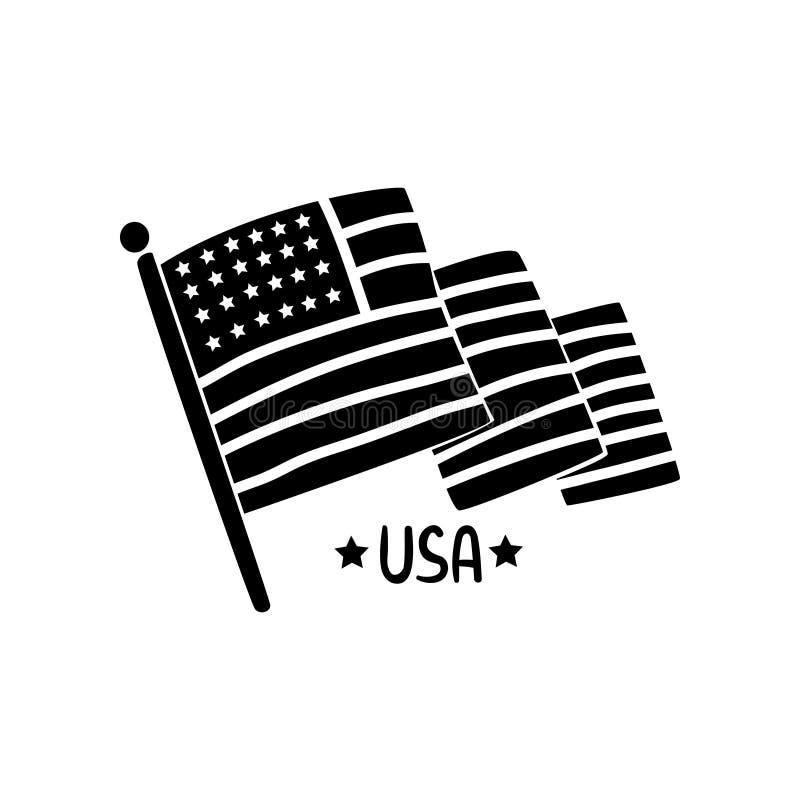 Bandeira de ondulação americana, ilustração retro tirada mão do vetor do elemento do projeto do Dia da Independência em um fundo  ilustração stock
