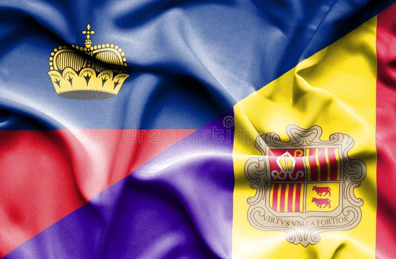 Bandeira de ondulação de Andorra e de Lichtenstein ilustração do vetor