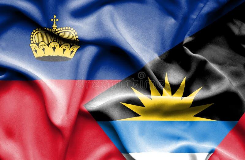 Bandeira de ondulação de Antígua e Barbuda e de Lichtenstein ilustração royalty free