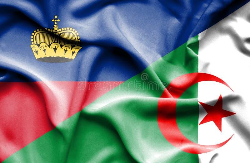 Bandeira de ondulação de Argélia e de Lichtenstein ilustração stock