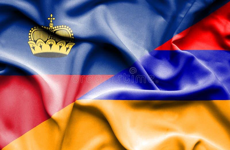Bandeira de ondulação de Armênia e de Lichtenstein ilustração stock