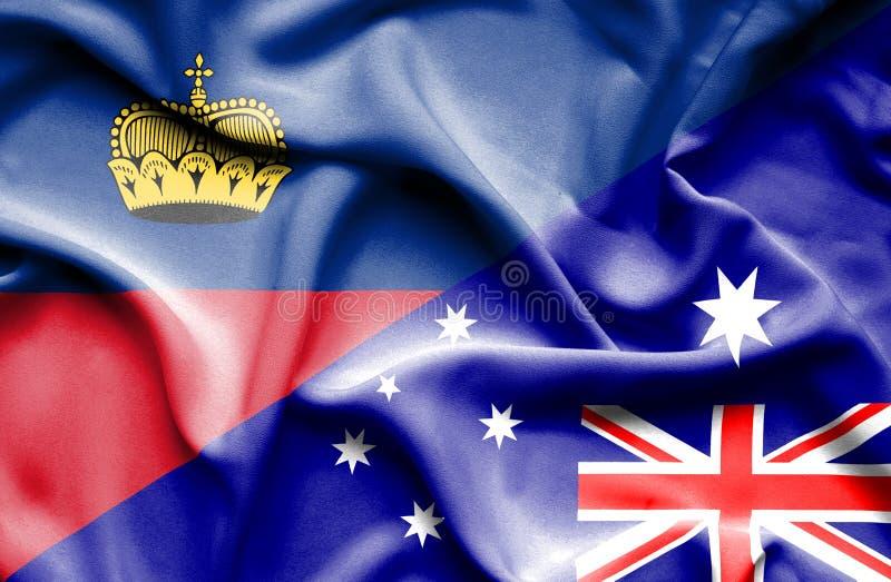 Bandeira de ondulação de Austrália e de Lichtenstein ilustração royalty free