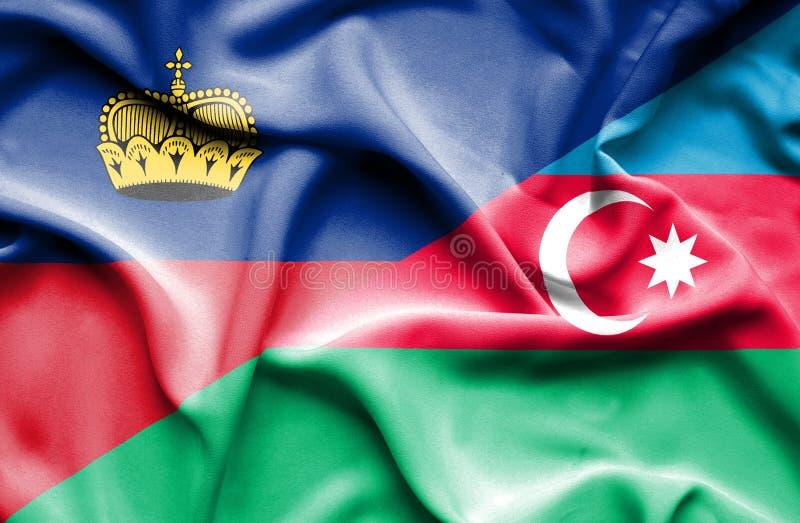 Bandeira de ondulação de Azerbajan e de Lichtenstein ilustração royalty free