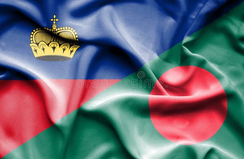 Bandeira de ondulação de Bangladesh e de Lichtenstein ilustração royalty free