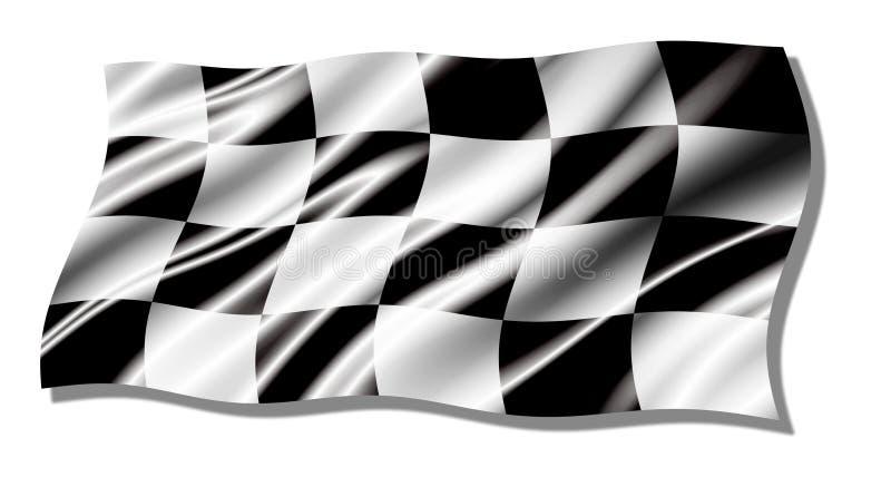 Bandeira de ondulação brilhante Checkered ilustração stock