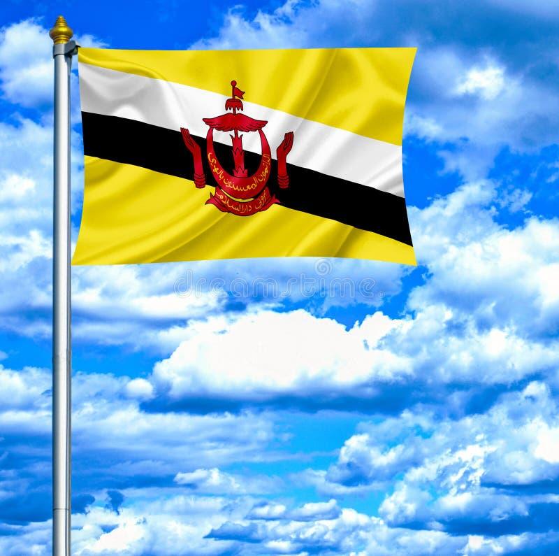 Bandeira de ondulação de Brunei Darussalam contra o céu azul foto de stock
