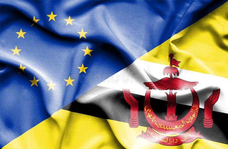 Bandeira de ondulação de Brunei Darussalam e da UE foto de stock