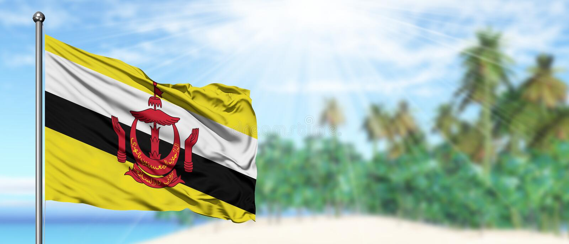 Bandeira de ondulação de Brunei Darussalam no céu azul ensolarado com fundo da praia do verão Tema das f?rias, conceito do feriad imagem de stock royalty free