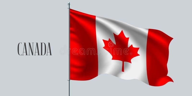 Bandeira de ondulação de Canadá na ilustração do vetor do mastro de bandeira ilustração stock